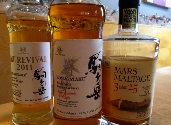 "Komagatake Single Malt ""The Revival 2011, Komagatake ""Rindo"", Mars Maltage ""3 plus 25"""